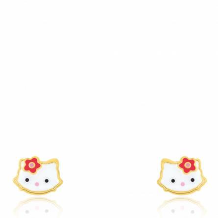 Boucles d'oreilles enfant or Little cat blanc