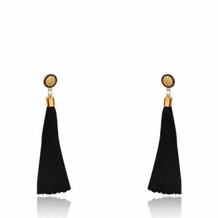 Boucles d'oreilles femme métal doré Jilana ronde noir