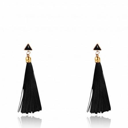 Boucles d'oreilles femme métal doré Nelina noir