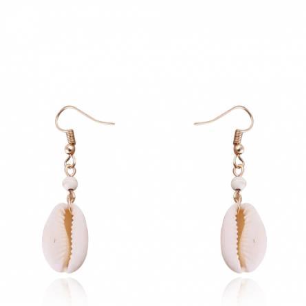 Boucles d'oreilles femme métal doré Seashell