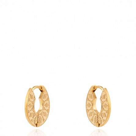 Boucles d'oreilles femme plaqué or Caléole créoles