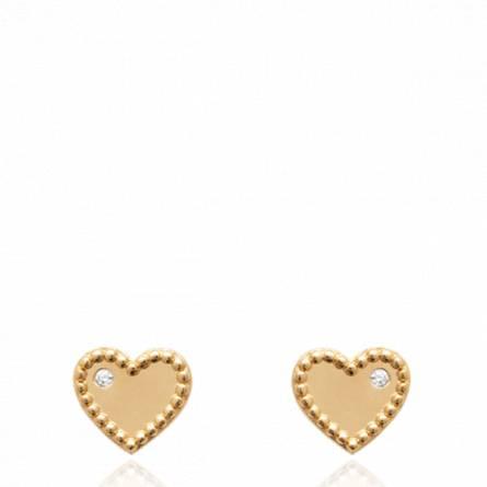 Boucles d'oreilles femme plaqué or Ioannah coeur