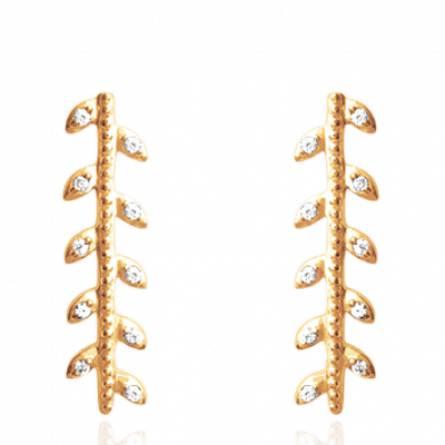 Boucles d'oreilles femme plaqué or Lunaria