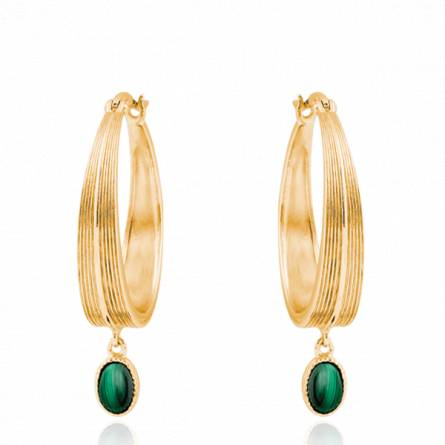 Boucles d'oreilles femme plaqué or Moro créoles vert