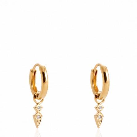Boucles d'oreilles femme plaqué or Pirka créoles