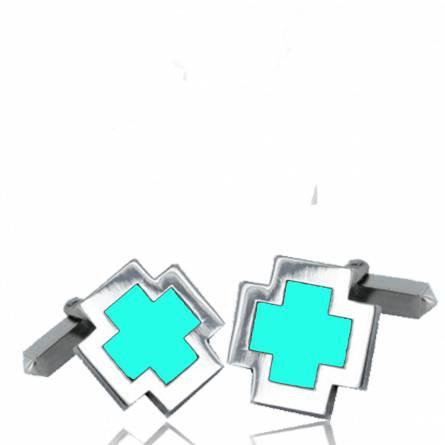Boutons de manchettes turquoise croix résine et argent Eulalie