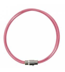 Bracelet 3 brins cuir rose