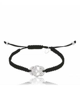 Bracelet argent et cordon noir Punk Style