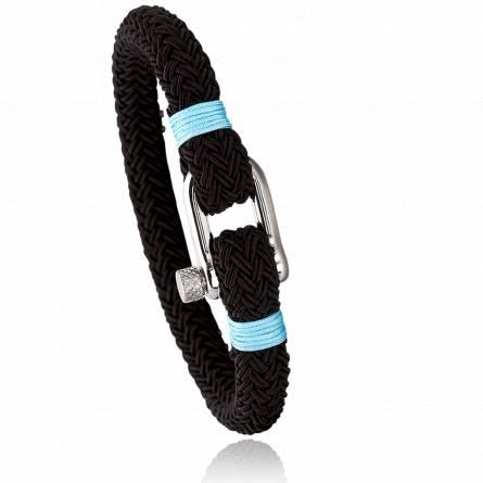 Bracelet corde et acier Jerian bleu