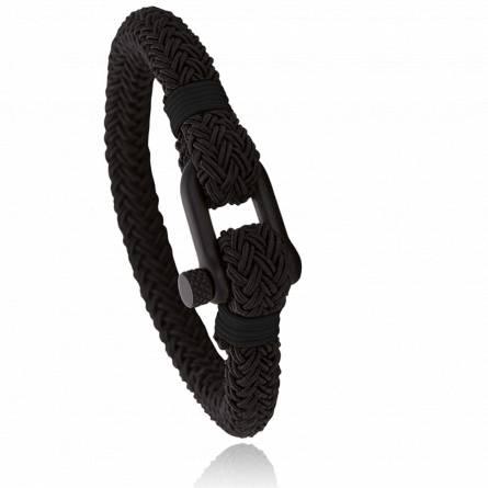 Bracelet corde et acier Jerian noir