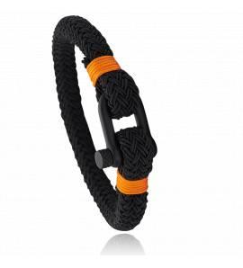 Bracelet corde et acier Jerian orange 3