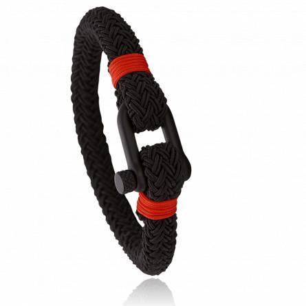 Bracelet corde et acier Jerian rouge 2