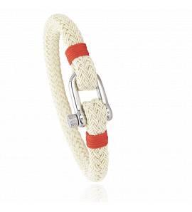 Bracelet corde et acier Jerian rouge