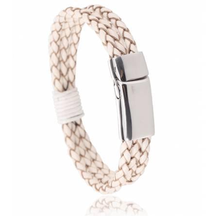 Bracelet cuir blanc Ligurie