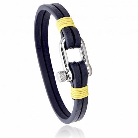 Bracelet cuir et acier Adias jaune