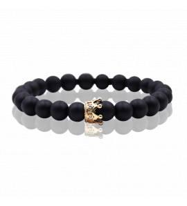 Bracelet femme métal doré Queen 3 noir