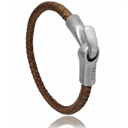 Bracelet homme cuir taupe Tijuana