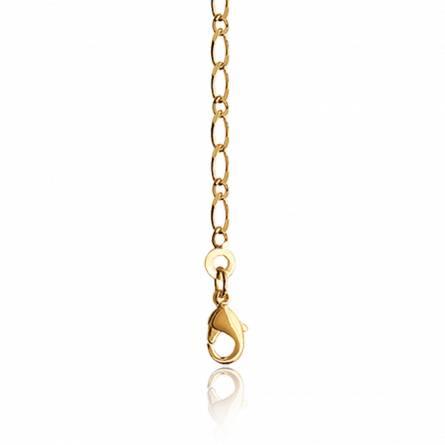 Chaine plaqué or maille figaro diamantée 1-1 2.2mm