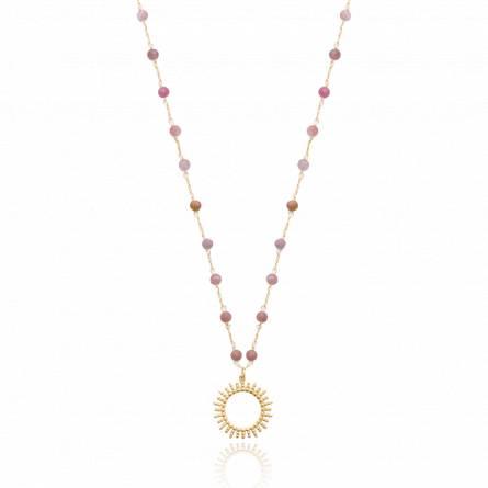 Collier femme plaqué or Delemotte rose