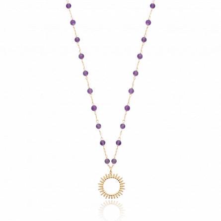 Collier femme plaqué or Zhengmai violet
