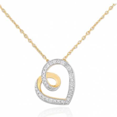 Collier or jaune coeur de diamants