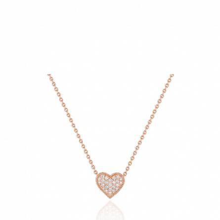 Collier or rose coeur diamant