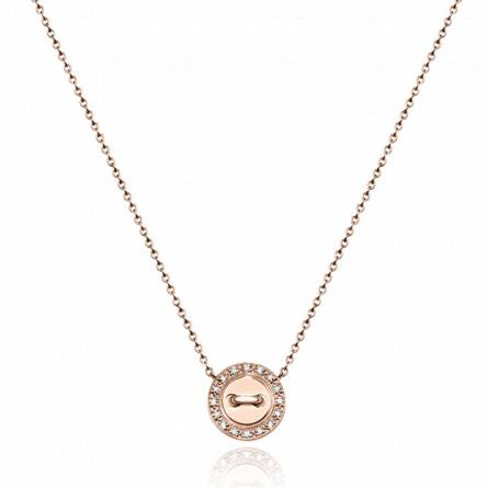 Collier or rose rond diamant