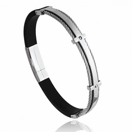 Man stainless steel Chochana black bracelet