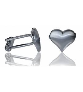 Manchetknopen heren roestvrijstaal Heart