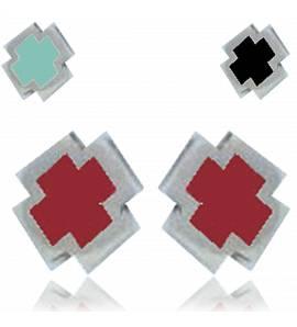 Oorbellen heren zilver Minimaliste croix Resine  zwart