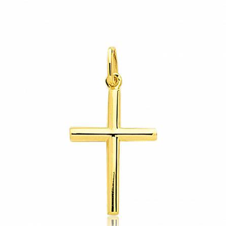 Pendentif Croix Or demi rond Igor