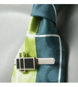 Pince à cravate Art Déco argent-résine rectangle