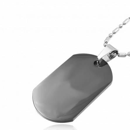 Plaque Militaire homme acier Retion noir