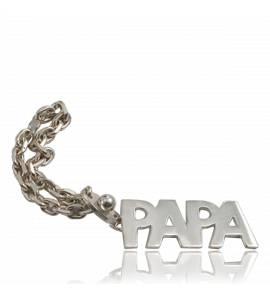 Porte Clefs Papa sculpté argent