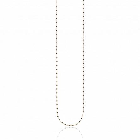 Sautoir plaqué or perle Miyuki noire