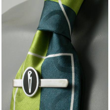 Silver Naval Black Resin Tie Clip