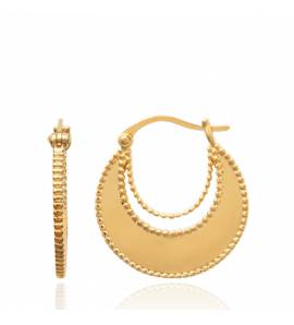 Woman gold plated creoles earring