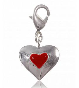 Woman silver metal hearts red charms