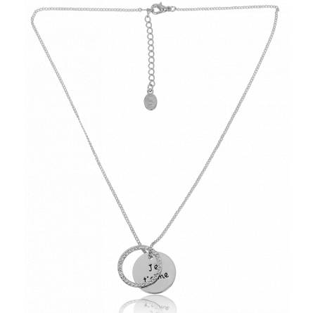 Woman stainless steel  attentionné grey necklace